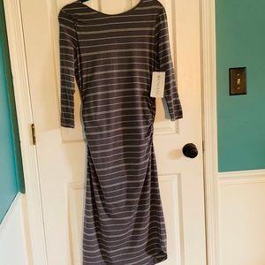 ATHLETA Comeback Midi Dress Grey Striped NWT M